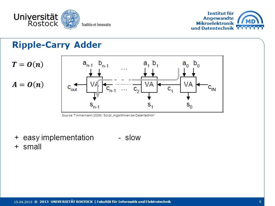 Institut für Angewandte Mikroelektronik und Datentechnik Institut für Angewandte Mikroelektronik und Datentechnik Ripple-Carry Adder 15.04.2015 5© 201