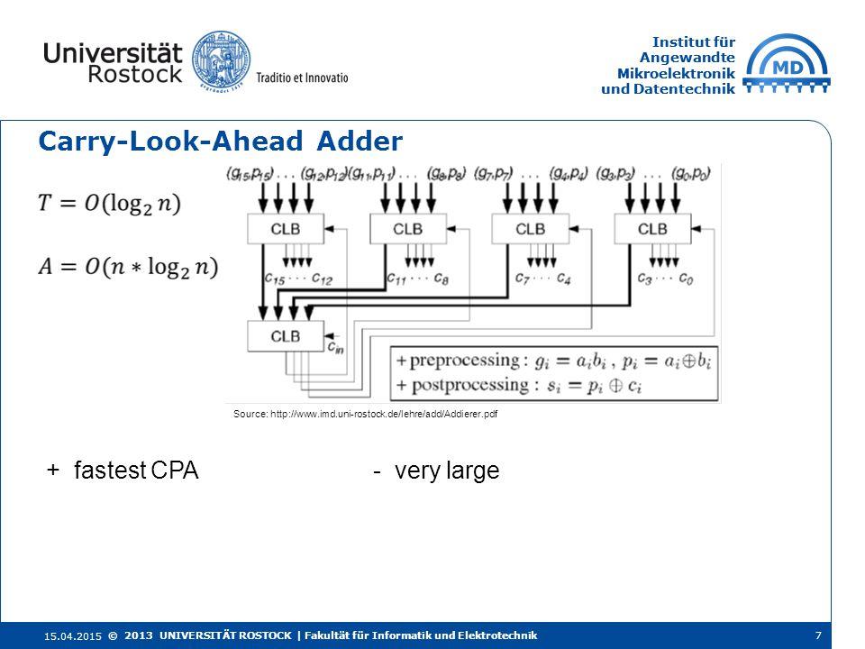Institut für Angewandte Mikroelektronik und Datentechnik Institut für Angewandte Mikroelektronik und Datentechnik Carry-Look-Ahead Adder 15.04.2015 7©
