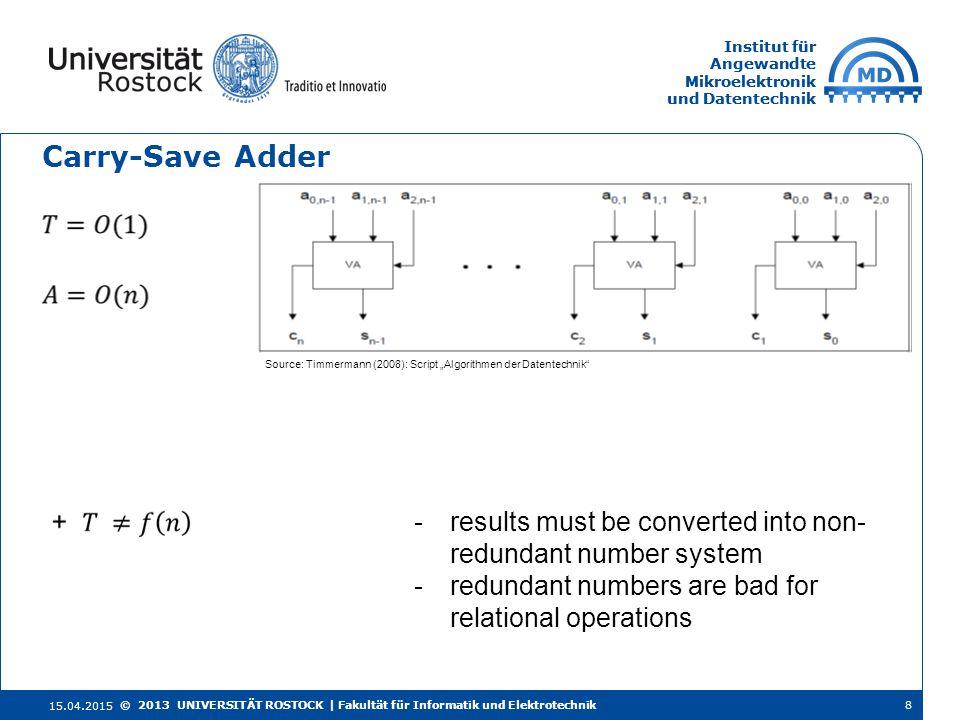 Institut für Angewandte Mikroelektronik und Datentechnik Institut für Angewandte Mikroelektronik und Datentechnik Carry-Save Adder 15.04.2015 8© 2013