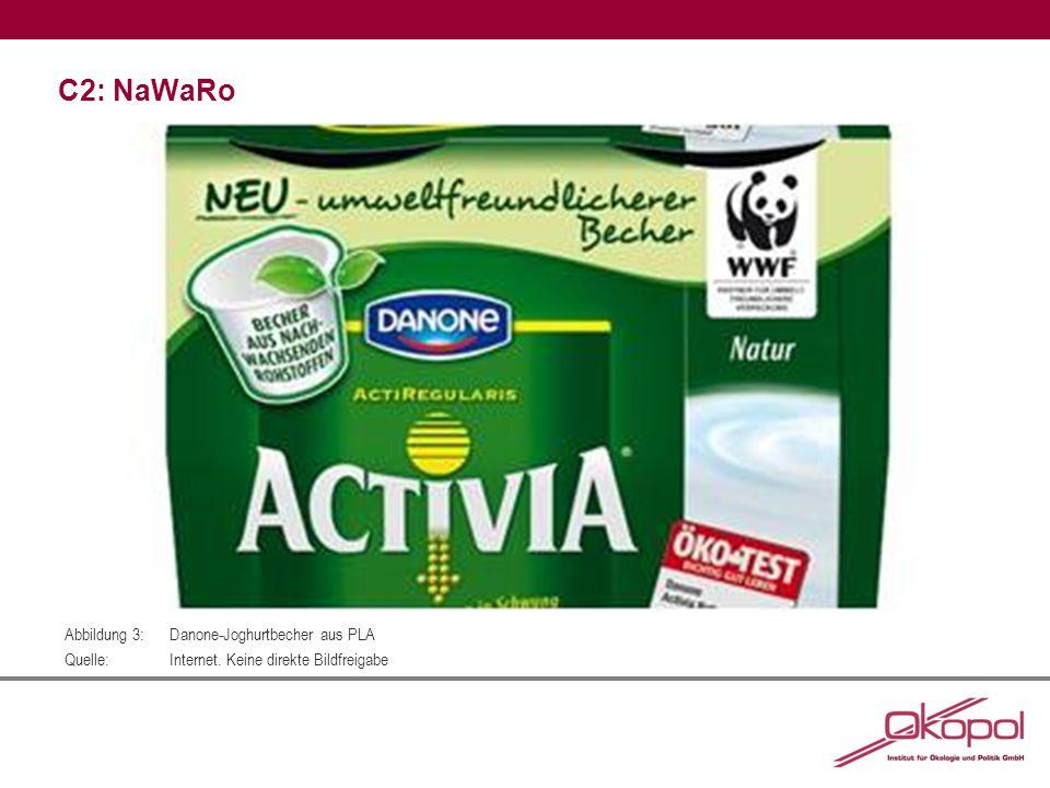 C2: NaWaRo Abbildung 3:Danone-Joghurtbecher aus PLA Quelle:Internet. Keine direkte Bildfreigabe