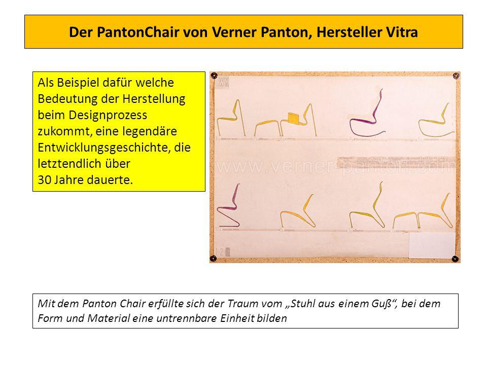 Der PantonChair von Verner Panton, Hersteller Vitra Als Beispiel dafür welche Bedeutung der Herstellung beim Designprozess zukommt, eine legendäre Ent