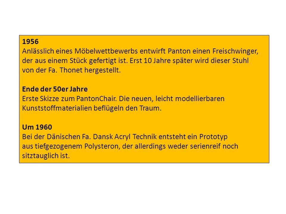 1963 Präsentiert Panton seine Stuhlidee den Basler Möbelfabrikanten Willi und Rolf Fehlbaum.