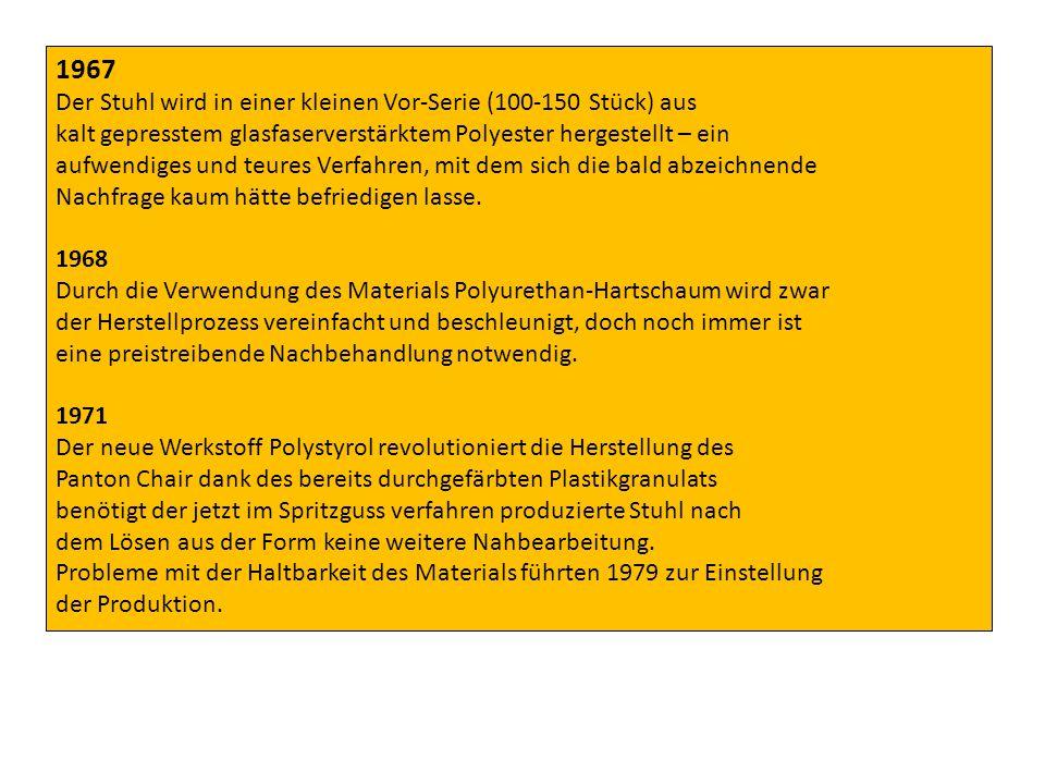 1983 Bei der Wiederaufnahme der Produktion greift man auf das in der Verarbeitung teure, dafür aber bewährte Material PU-Hartschaum zurück.