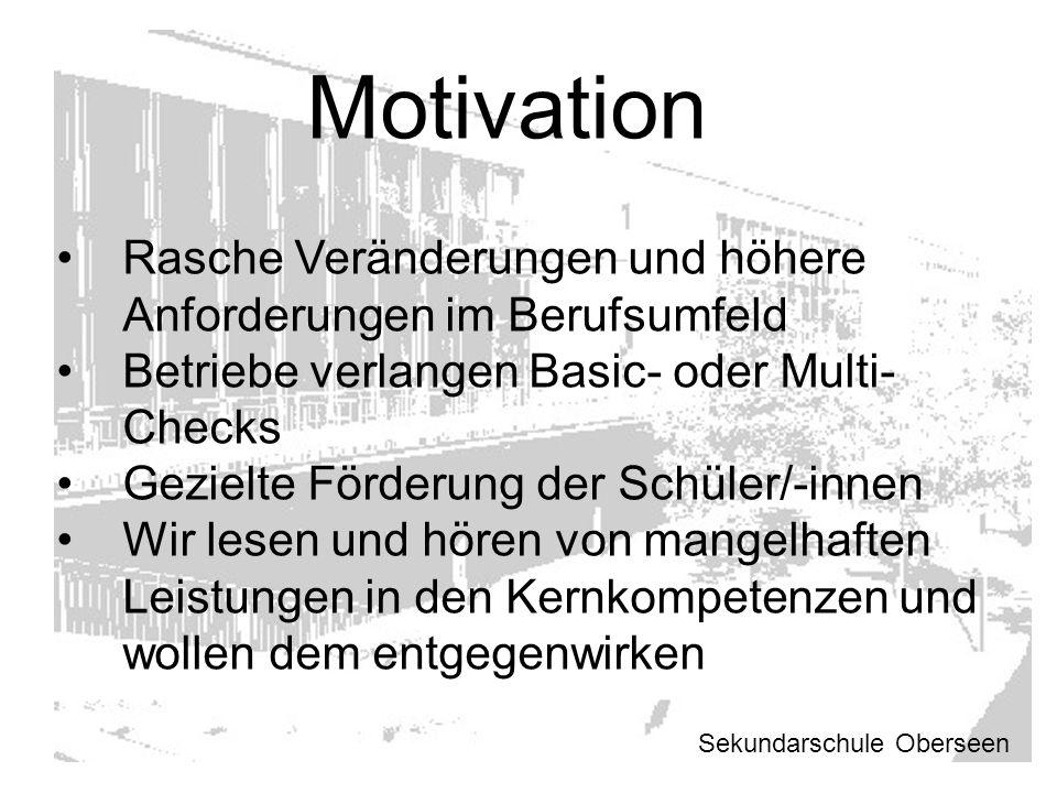 Motivation Rasche Veränderungen und höhere Anforderungen im Berufsumfeld Betriebe verlangen Basic- oder Multi- Checks Gezielte Förderung der Schüler/-