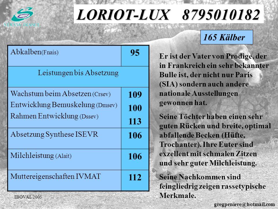 LORIOT-LUX 8795010182 Abkalben (Fnais) 95 Leistungen bis Absetzung Wachstum beim Absetzen (Crsev) Entwicklung Bemuskelung (Dmsev) Rahmen Entwicklung (