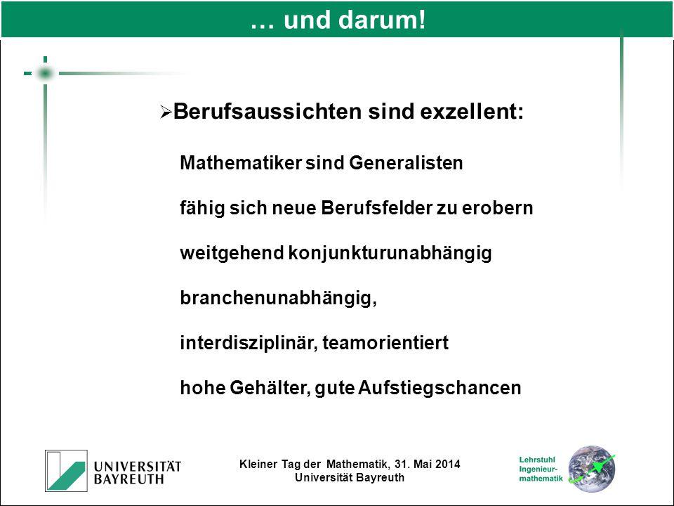 Kleiner Tag der Mathematik, 31. Mai 2014 Universität Bayreuth  Berufsaussichten sind exzellent: Mathematiker sind Generalisten fähig sich neue Berufs