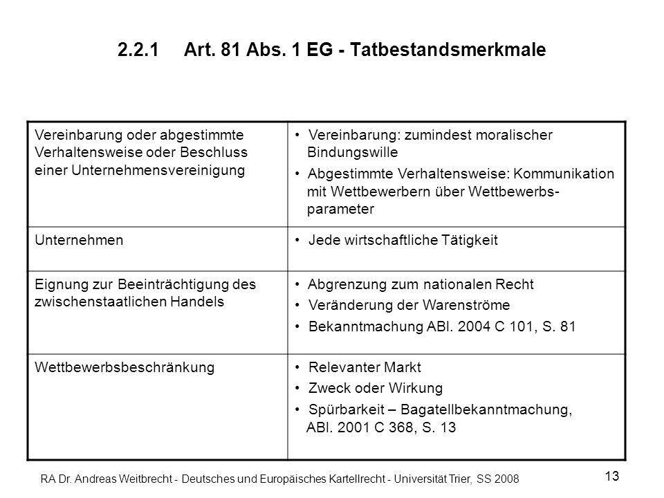 RA Dr. Andreas Weitbrecht - Deutsches und Europäisches Kartellrecht - Universität Trier, SS 2008 2.2.1Art. 81 Abs. 1 EG - Tatbestandsmerkmale 13 Verei