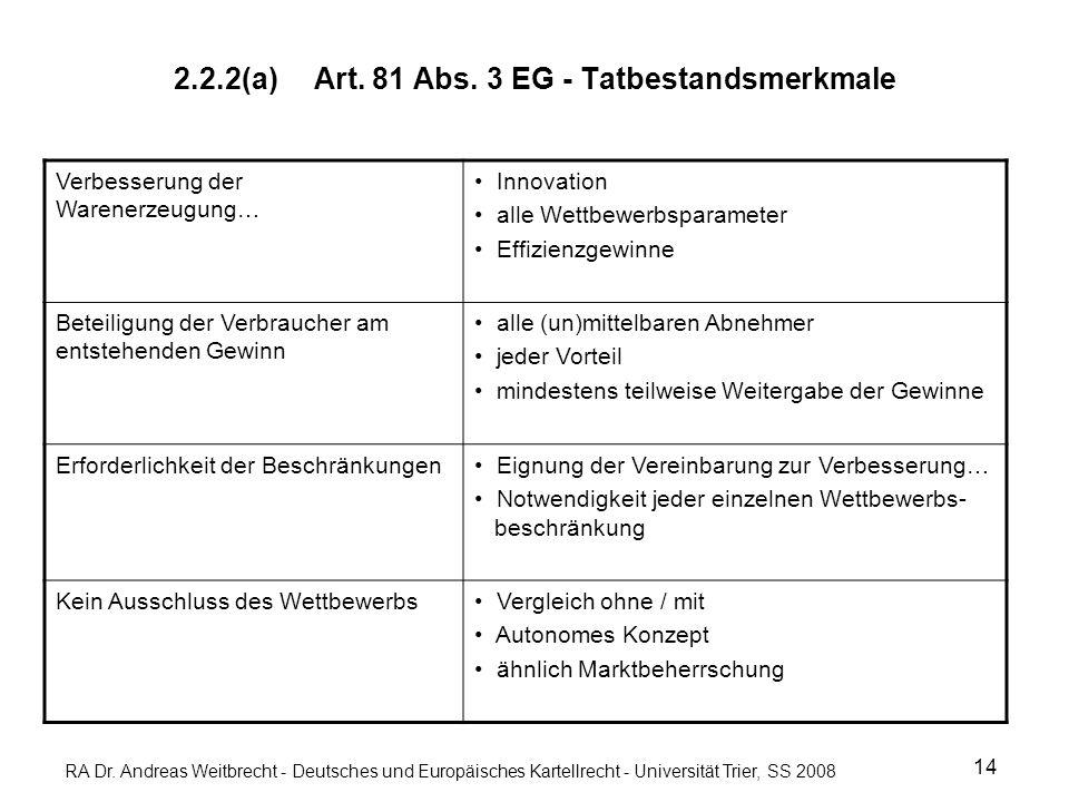 RA Dr. Andreas Weitbrecht - Deutsches und Europäisches Kartellrecht - Universität Trier, SS 2008 2.2.2(a) Art. 81 Abs. 3 EG - Tatbestandsmerkmale 14 V