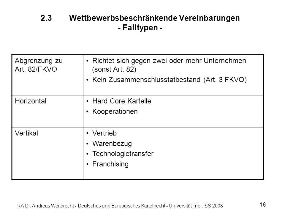 RA Dr. Andreas Weitbrecht - Deutsches und Europäisches Kartellrecht - Universität Trier, SS 2008 2.3 Wettbewerbsbeschränkende Vereinbarungen - Falltyp