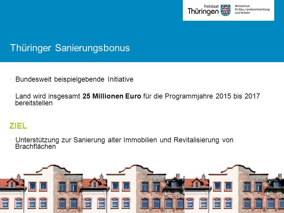 Thüringer Sanierungsbonus · Bundesweit beispielgebende Initiative · Land wird insgesamt 25 Millionen Euro für die Programmjahre 2015 bis 2017 bereitst