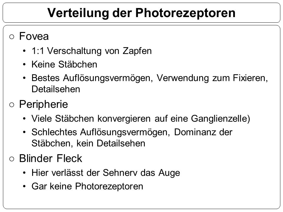 Verteilung der Photorezeptoren ○Fovea 1:1 Verschaltung von Zapfen Keine Stäbchen Bestes Auflösungsvermögen, Verwendung zum Fixieren, Detailsehen ○Peri