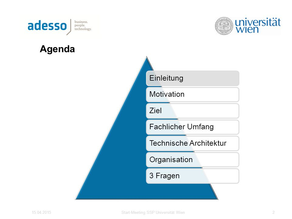 Agenda 15.04.2015Start-Meeting SSP Universität Wien2 EinleitungMotivationZielFachlicher UmfangTechnische ArchitekturOrganisation3 Fragen