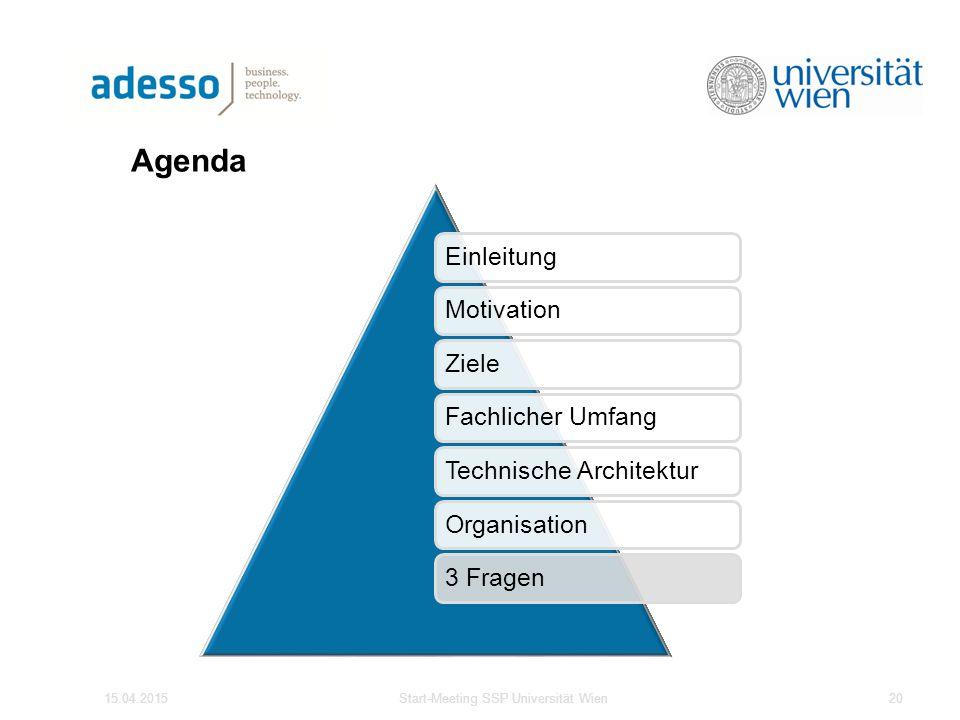 Agenda EinleitungMotivationZieleFachlicher UmfangTechnische ArchitekturOrganisation3 Fragen 15.04.2015Start-Meeting SSP Universität Wien20