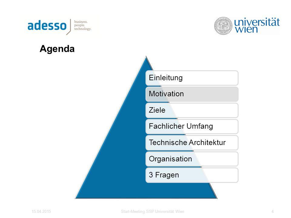 Agenda 15.04.2015Start-Meeting SSP Universität Wien4 EinleitungMotivationZieleFachlicher UmfangTechnische ArchitekturOrganisation3 Fragen