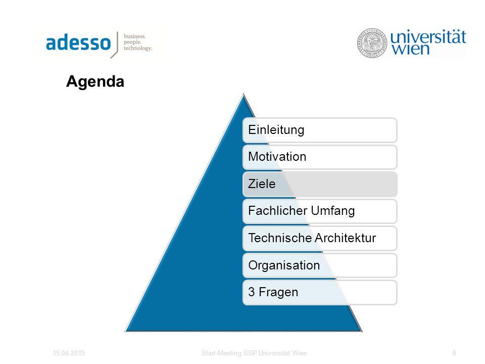 Agenda 15.04.2015Start-Meeting SSP Universität Wien6 EinleitungMotivationZieleFachlicher UmfangTechnische ArchitekturOrganisation3 Fragen
