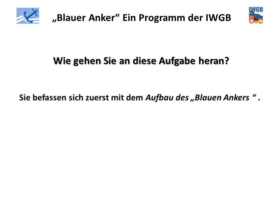 """""""Blauer Anker"""" Ein Programm der IWGB Wie gehen Sie an diese Aufgabe heran? Sie befassen sich zuerst mit dem Aufbau des """"Blauen Ankers """"."""