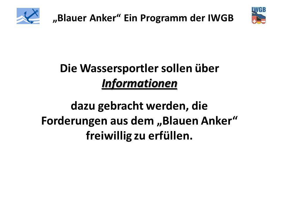 """""""Blauer Anker"""" Ein Programm der IWGB Informationen Die Wassersportler sollen über Informationen dazu gebracht werden, die Forderungen aus dem """"Blauen"""