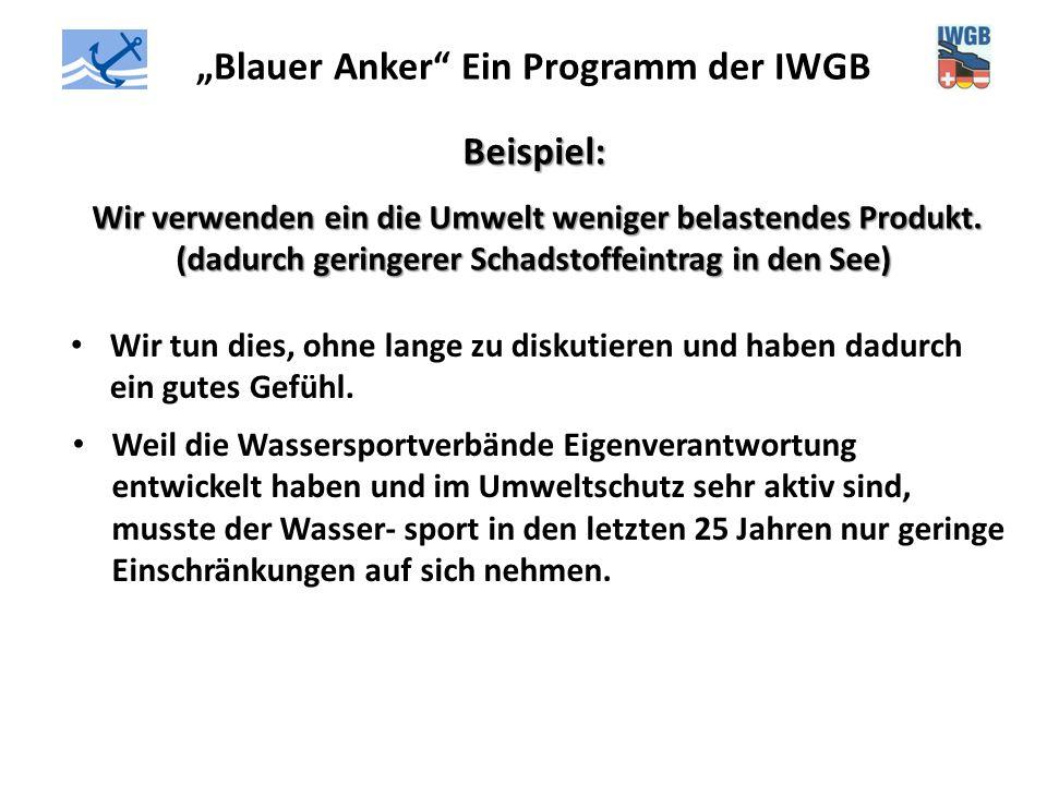 """""""Blauer Anker"""" Ein Programm der IWGB Beispiel: Wir verwenden ein die Umwelt weniger belastendes Produkt. (dadurch geringerer Schadstoffeintrag in den"""