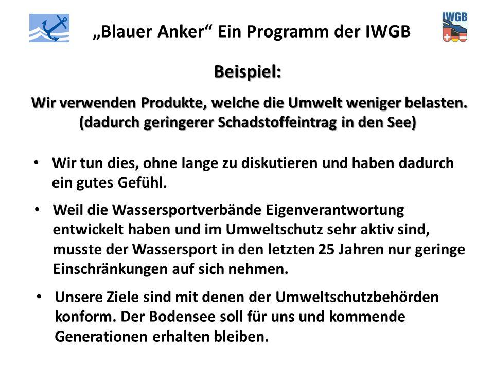 """""""Blauer Anker"""" Ein Programm der IWGB Beispiel: Wir verwenden Produkte, welche die Umwelt weniger belasten. (dadurch geringerer Schadstoffeintrag in de"""