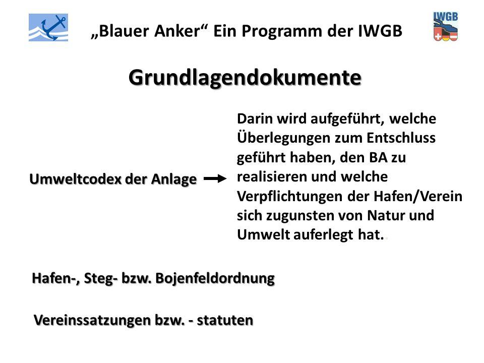 """""""Blauer Anker"""" Ein Programm der IWGB Grundlagendokumente Umweltcodex der Anlage Darin wird aufgeführt, welche Überlegungen zum Entschluss geführt habe"""