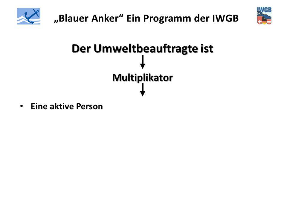 """""""Blauer Anker"""" Ein Programm der IWGB Der Umweltbeauftragte ist Multiplikator Eine aktive Person"""