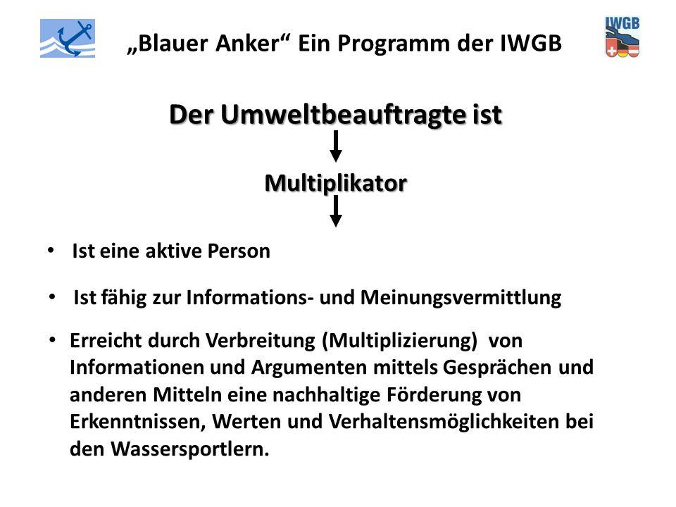 """""""Blauer Anker"""" Ein Programm der IWGB Der Umweltbeauftragte ist Multiplikator Ist eine aktive Person Ist fähig zur Informations- und Meinungsvermittlun"""