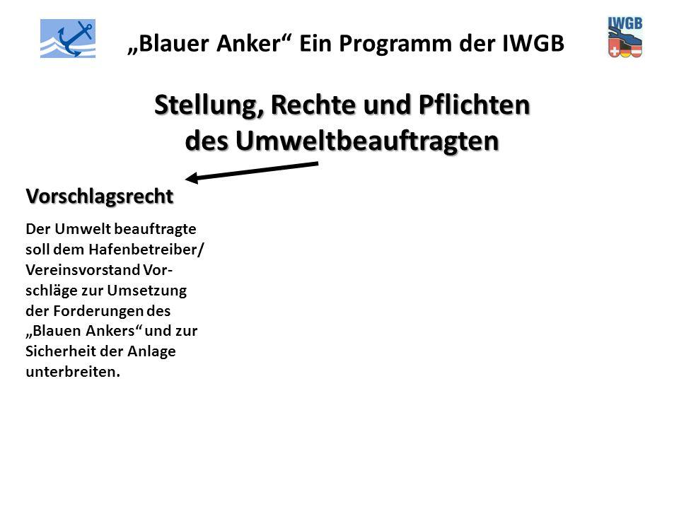 """""""Blauer Anker"""" Ein Programm der IWGB Stellung, Rechte und Pflichten des Umweltbeauftragten Vorschlagsrecht Der Umwelt beauftragte soll dem Hafenbetrei"""