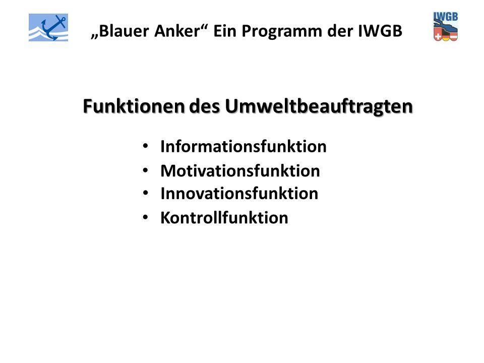 """""""Blauer Anker"""" Ein Programm der IWGB Funktionen des Umweltbeauftragten Informationsfunktion Motivationsfunktion Innovationsfunktion Kontrollfunktion"""