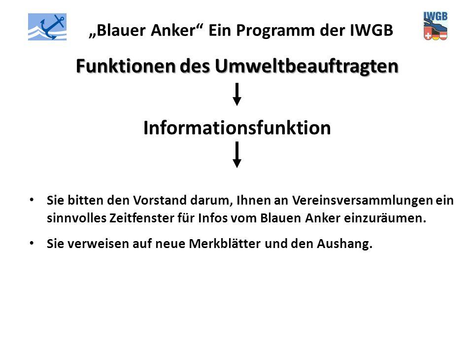 """""""Blauer Anker"""" Ein Programm der IWGB Funktionen des Umweltbeauftragten Informationsfunktion Sie bitten den Vorstand darum, Ihnen an Vereinsversammlung"""