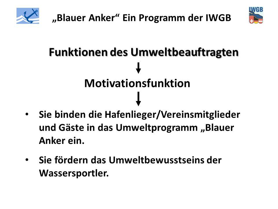 """""""Blauer Anker"""" Ein Programm der IWGB Funktionen des Umweltbeauftragten Motivationsfunktion Sie binden die Hafenlieger/Vereinsmitglieder und Gäste in d"""