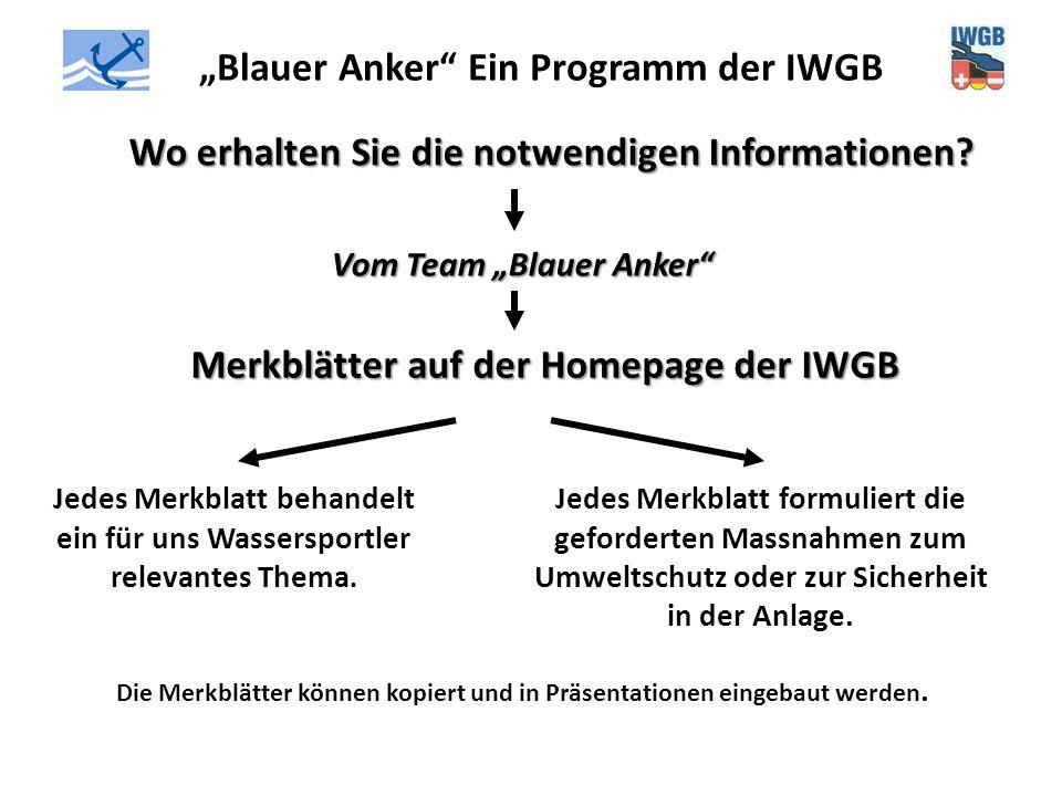 """""""Blauer Anker"""" Ein Programm der IWGB Wo erhalten Sie die notwendigen Informationen? Vom Team """"Blauer Anker"""" Merkblätter auf der Homepage der IWGB Jede"""