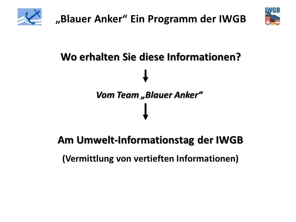 """""""Blauer Anker"""" Ein Programm der IWGB Wo erhalten Sie diese Informationen? Vom Team """"Blauer Anker"""" Am Umwelt-Informationstag der IWGB (Vermittlung von"""