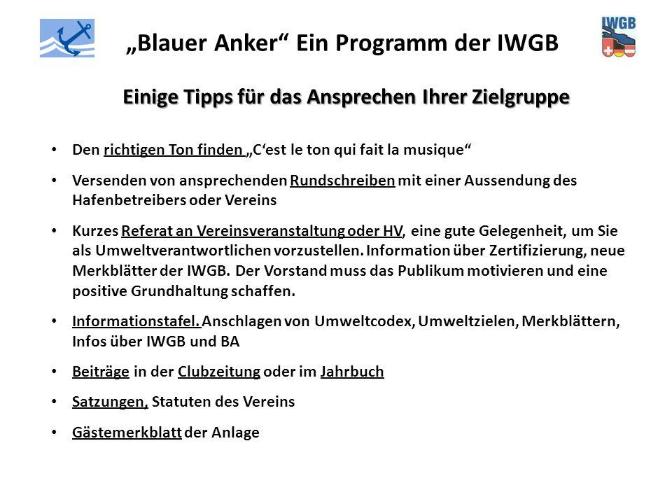 """""""Blauer Anker"""" Ein Programm der IWGB Einige Tipps für das Ansprechen Ihrer Zielgruppe Den richtigen Ton finden """"C'est le ton qui fait la musique"""" Vers"""