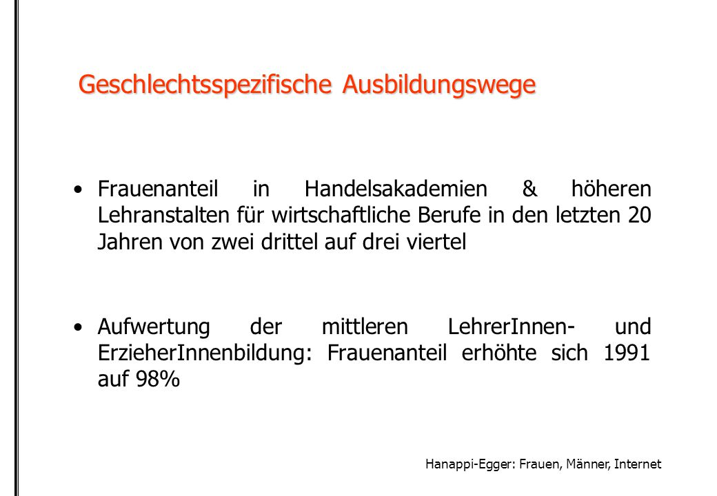 Hanappi-Egger: Frauen, Männer, Internet zur Aufhebung der Geschlechterfrage im Internet Geschlechtertrennung  Hierarchisierung?Geschlechtertrennung  Hierarchisierung.