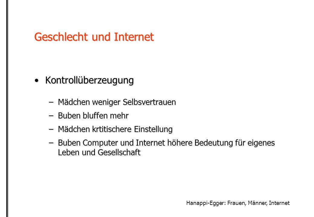 Hanappi-Egger: Frauen, Männer, Internet Geschlecht und Internet NutzungsmotiveNutzungsmotive –Mädchen stärker soziale Interaktionen (email, chatten) –Buben technisches Know-How, Spass