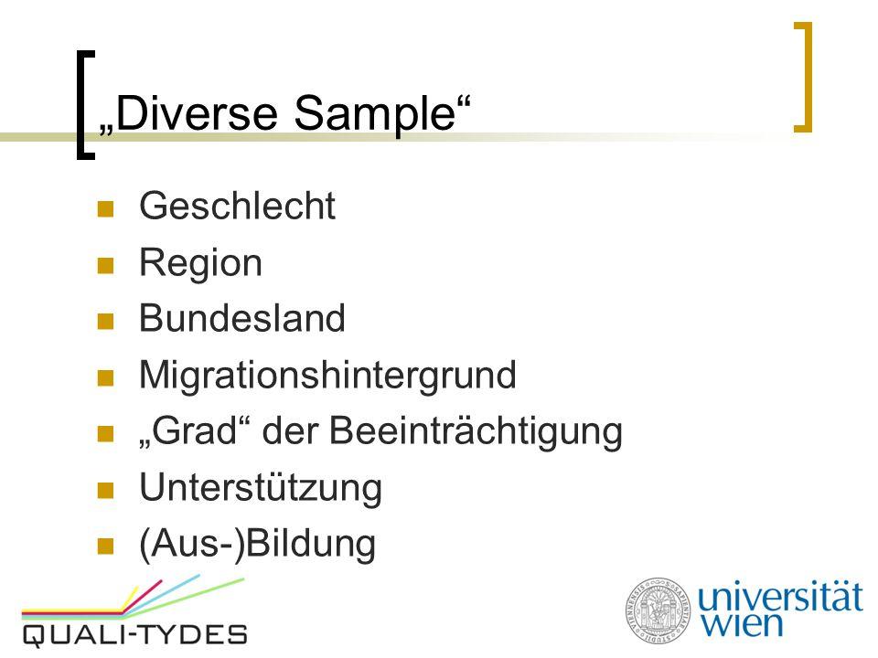 """""""Diverse Sample"""" Geschlecht Region Bundesland Migrationshintergrund """"Grad"""" der Beeinträchtigung Unterstützung (Aus-)Bildung"""