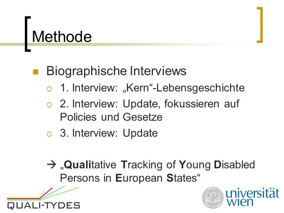 """Methode Biographische Interviews  1. Interview: """"Kern""""-Lebensgeschichte  2. Interview: Update, fokussieren auf Policies und Gesetze  3. Interview:"""