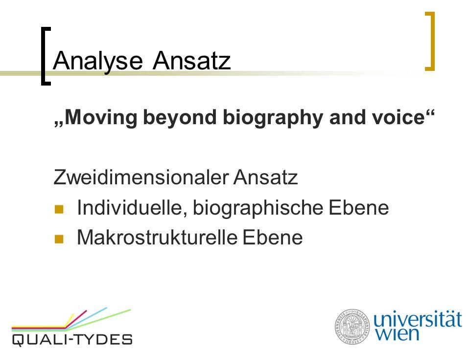 """Analyse Ansatz """"Moving beyond biography and voice"""" Zweidimensionaler Ansatz Individuelle, biographische Ebene Makrostrukturelle Ebene"""