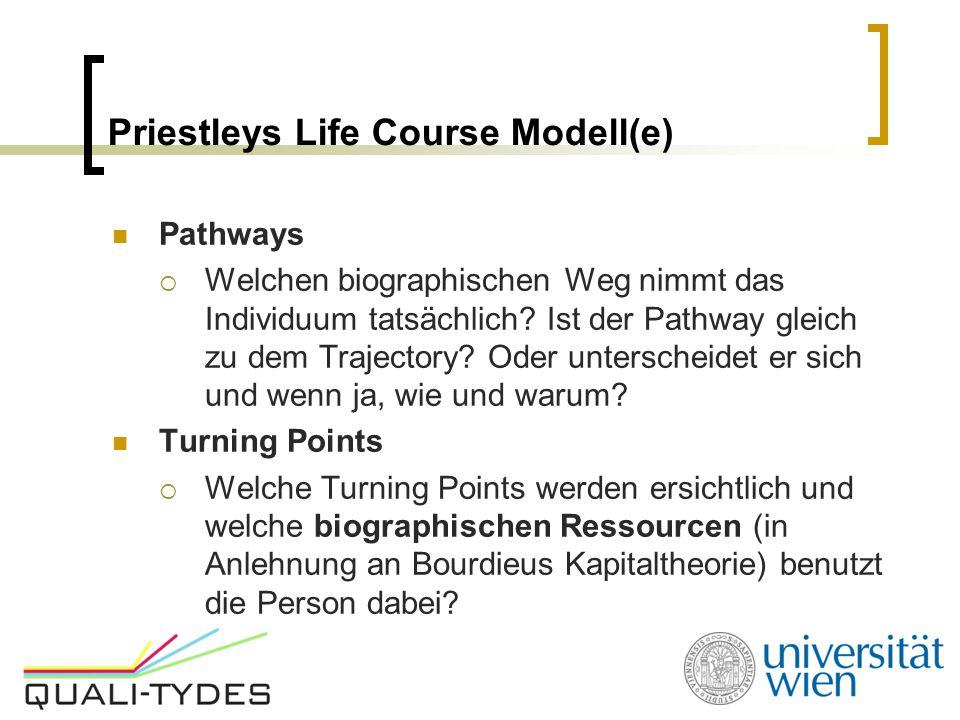 Priestleys Life Course Modell(e) Pathways  Welchen biographischen Weg nimmt das Individuum tatsächlich? Ist der Pathway gleich zu dem Trajectory? Ode