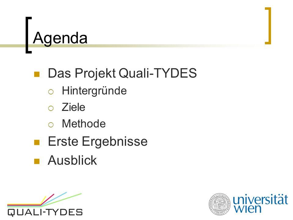 Agenda Das Projekt Quali-TYDES  Hintergründe  Ziele  Methode Erste Ergebnisse Ausblick