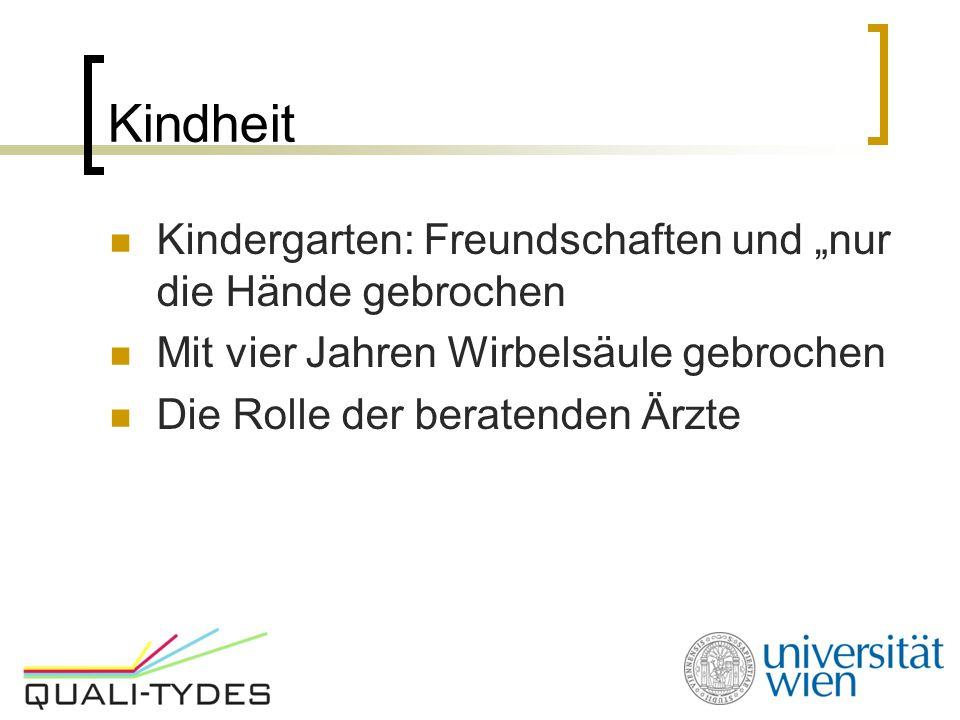 """Kindheit Kindergarten: Freundschaften und """"nur die Hände gebrochen Mit vier Jahren Wirbelsäule gebrochen Die Rolle der beratenden Ärzte"""
