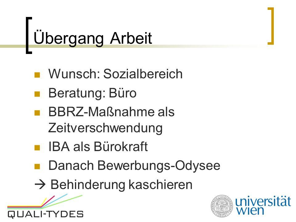 Übergang Arbeit Wunsch: Sozialbereich Beratung: Büro BBRZ-Maßnahme als Zeitverschwendung IBA als Bürokraft Danach Bewerbungs-Odysee  Behinderung kaschieren