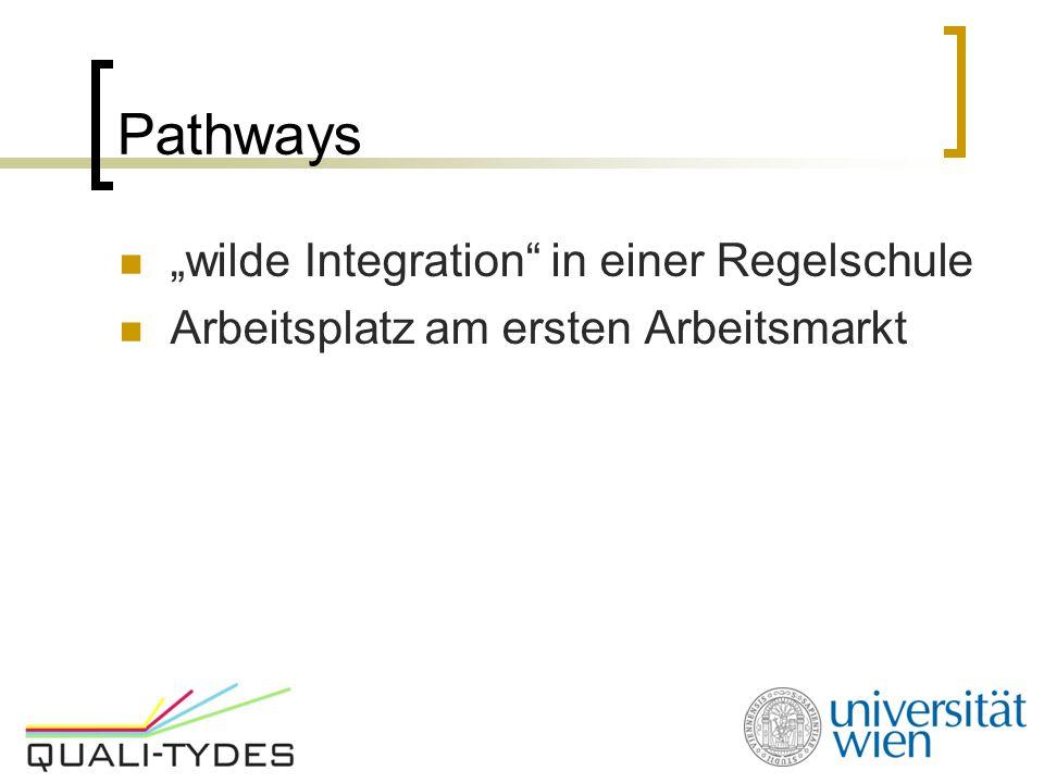 """Pathways """"wilde Integration"""" in einer Regelschule Arbeitsplatz am ersten Arbeitsmarkt"""