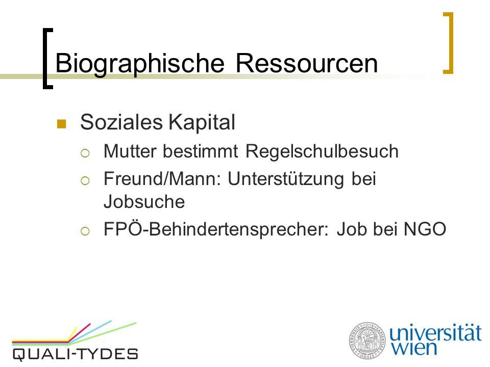 Biographische Ressourcen Soziales Kapital  Mutter bestimmt Regelschulbesuch  Freund/Mann: Unterstützung bei Jobsuche  FPÖ-Behindertensprecher: Job