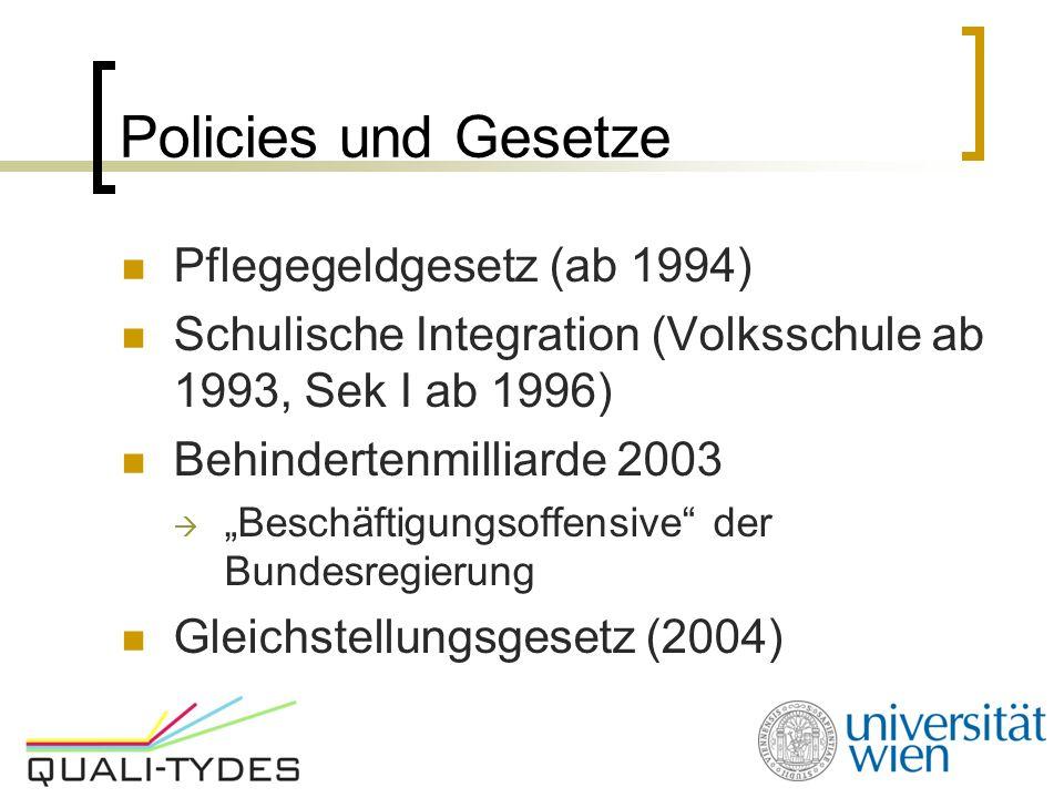 """Policies und Gesetze Pflegegeldgesetz (ab 1994) Schulische Integration (Volksschule ab 1993, Sek I ab 1996) Behindertenmilliarde 2003  """"Beschäftigungsoffensive der Bundesregierung Gleichstellungsgesetz (2004)"""