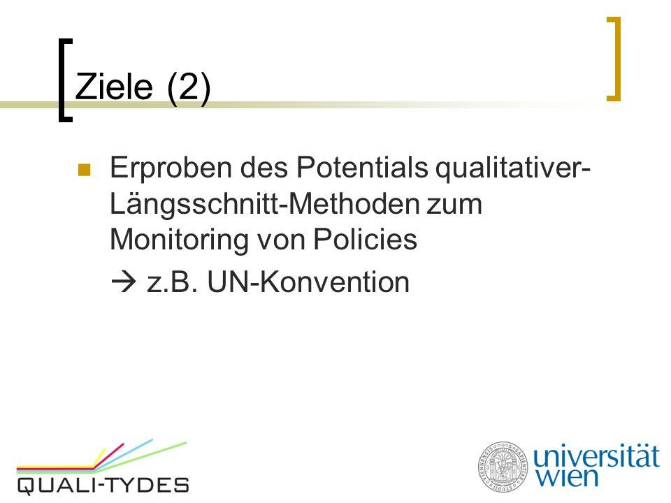 Ziele (2) Erproben des Potentials qualitativer- Längsschnitt-Methoden zum Monitoring von Policies  z.B. UN-Konvention