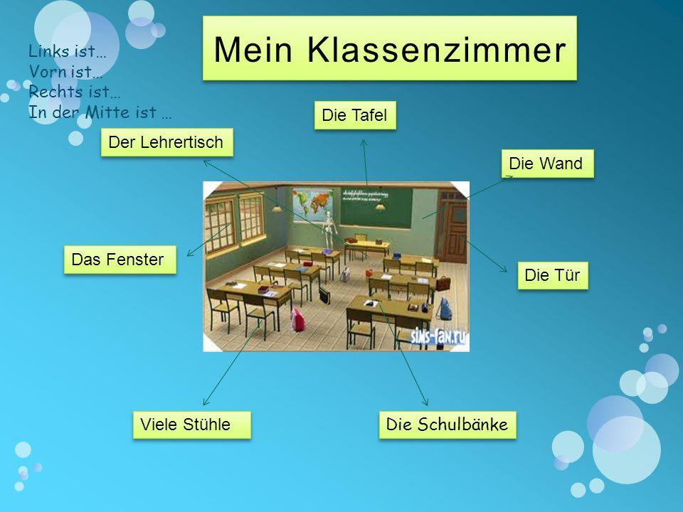 Das Fenster Viele Stühle Die Schulbänke Die Tafel Die Wand Der Lehrertisch Die Tür Links ist… Vorn ist… Rechts ist… In der Mitte ist …