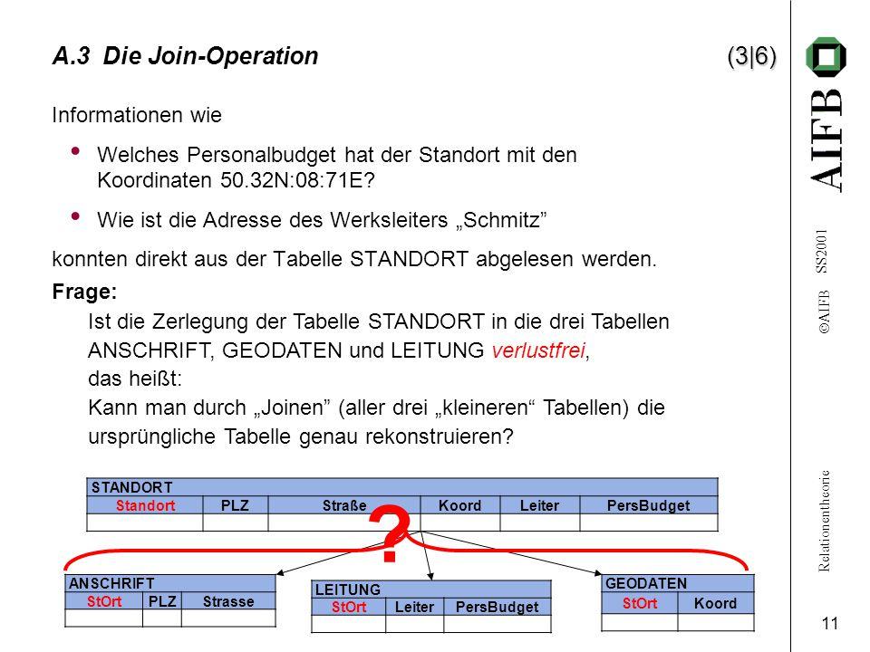 Relationentheorie  AIFB SS2001 11 (3|6) A.3 Die Join-Operation (3|6) Informationen wie Welches Personalbudget hat der Standort mit den Koordinaten 50.32N:08:71E.