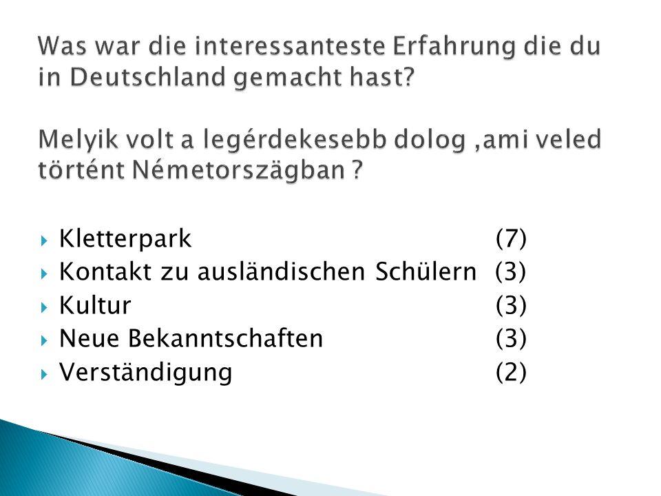  Kletterpark(7)  Kontakt zu ausländischen Schülern (3)  Kultur(3)  Neue Bekanntschaften(3)  Verständigung(2)