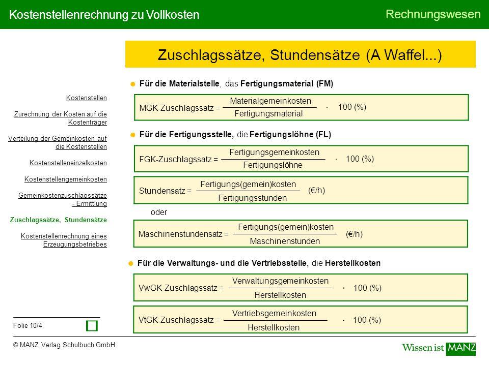© MANZ Verlag Schulbuch GmbH Rechnungswesen Folie 11/4 Kostenstellenrechnung zu Vollkosten Waffelkönigin KostenKostenstellen KostenartKostenKücheVerkauf LM Einsatz 42.000,00 Getränkeeinsatz 30.000,00 Personal 76.440,00 32.760,00 43.680,00 76.440,00 Miete 9.360,00 2.880,00 6.480,00 9.360,00 Sonst.